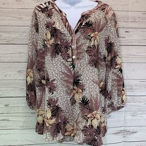 Fig and Flower Leopard and Palm Leaf Print Blouse